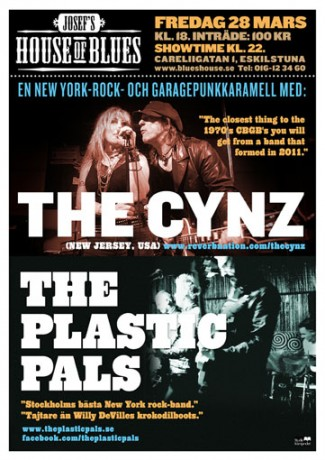 Poster for The Cynz and The Plastic Pals in Eskilstuna 28 March
