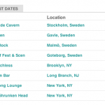 Tour dates in Sweden, New York and New Jersey